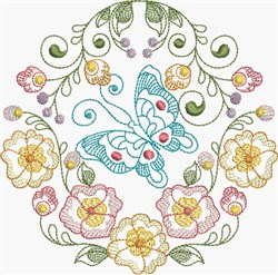 Butterfly & Pansies Circle embroidery design