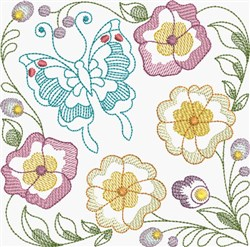 Butterfly & Pansies Square embroidery design