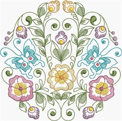 Butterflies & Pansies Circle embroidery design