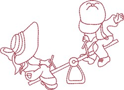 Redwork Kids & Seesaw embroidery design