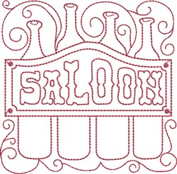 Redwork Saloon Sign embroidery design