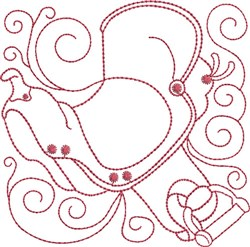Redwork Sadle embroidery design