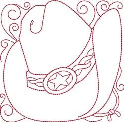 Redwork Sheriff Hat embroidery design