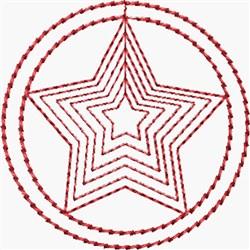 Redwork Sheriff Star embroidery design