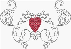 Scroll & Heart Swag embroidery design