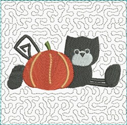 Black Cat Block embroidery design