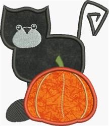 Applique Black Cat embroidery design