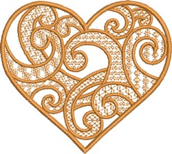 Golden Swirly Heart embroidery design