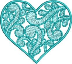 Swirly Teal Heart embroidery design