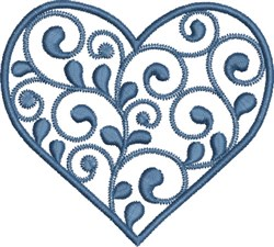 Swirly Blue Heart embroidery design