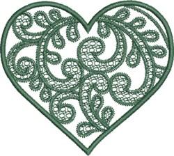 Green Swirly Heart embroidery design