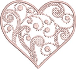 Pink Swirly Heart embroidery design