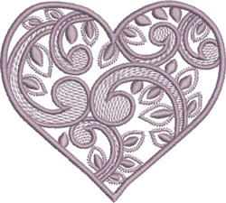Lavender Swirly Heart embroidery design