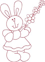 Redwork Bunny & Flowers embroidery design