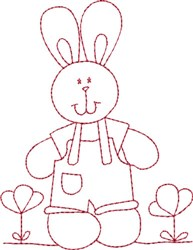 Redwork Farmer Bunny embroidery design