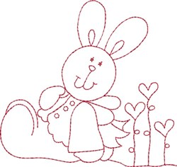 Redwork Hearts Bunny embroidery design