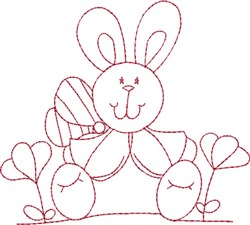 Redwork Bunny & Wings embroidery design