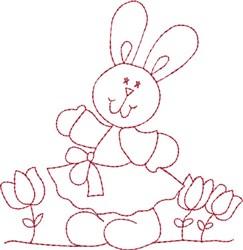 Redwork Happy Bunny embroidery design