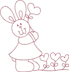 Redwork Bunny & Hearts embroidery design