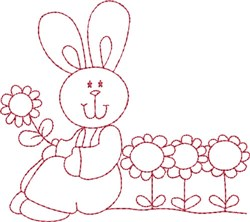 Redwork Bunny & Sunflowers embroidery design