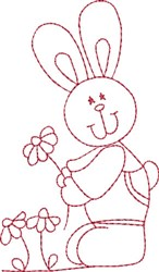 Redwork Bunny & Daisies embroidery design