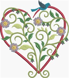 Purple Pansies Heart embroidery design