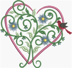 Pink Floral Heart embroidery design