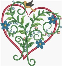Red Floral Heart embroidery design