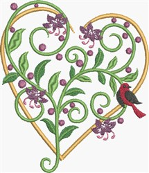 Golden Floral Heart embroidery design