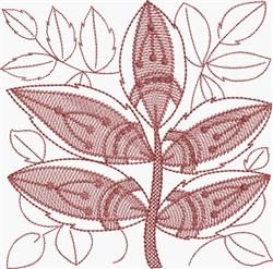 Brick Red Leaf embroidery design