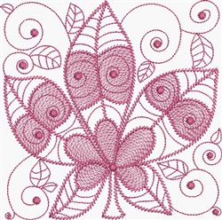 Rusty Red Leaf embroidery design