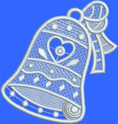 FSL White Heart Bell embroidery design