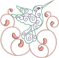 Swirly Hummingbird embroidery design
