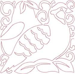 Redwork Partridge Block embroidery design