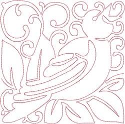 Redwork Calling Bird embroidery design