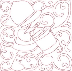 Redwork Drummer Block embroidery design