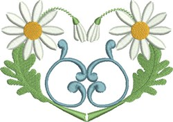 Simply Daisies Heart embroidery design