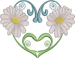 Hearts & Daisies embroidery design