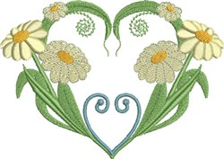Yellow Daisies & Hearts embroidery design