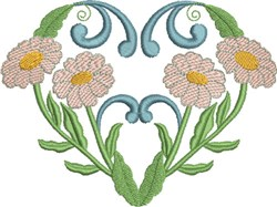 Pink Daisies & Hearts embroidery design