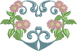 Pink Daisies & Heart embroidery design