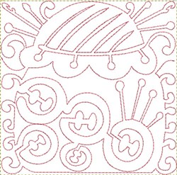Buttons Needles Block embroidery design