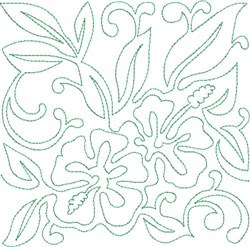 Bonny Hawaiian Block embroidery design