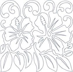 Hawaiian Floral Block embroidery design