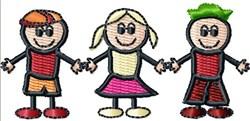 3 Stick Kids embroidery design