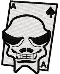 Ace Spade Skull Card embroidery design