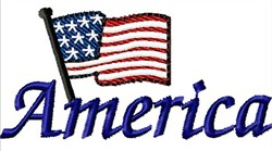 America With Flag embroidery design