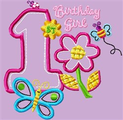 1st Birthday Girl embroidery design