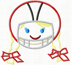 Applique Football Girl embroidery design