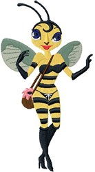 Lady Bee embroidery design